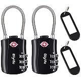 TSA Gepäckschlösser, [2 Stück] Diyife 3-stelliges Sicherheitsschloss, Kombinationsschlösser, Codeschloss für Reisekoffer Gepäcktasche Etui etc. (Schwarz)