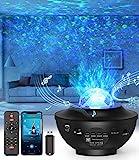 LED-Sternenhimmel Projektor,Rotierendes WasserwellenproJektorlicht,Ferngesteuertes Nachtlicht,Farbwechselnder Musikplayer mit Bluetooth,Geeignet für Kinder / Zuhause / Valentinstag Geschenke