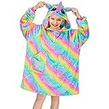 Basumee Pullover Decke Kinder Oversize Hoodie Decke Sweatshirt Decke Kapuzen TV Kuscheldecke für Mädchen mit Ärmel und Tasche aus Polyester Plüsch,12 Jahre