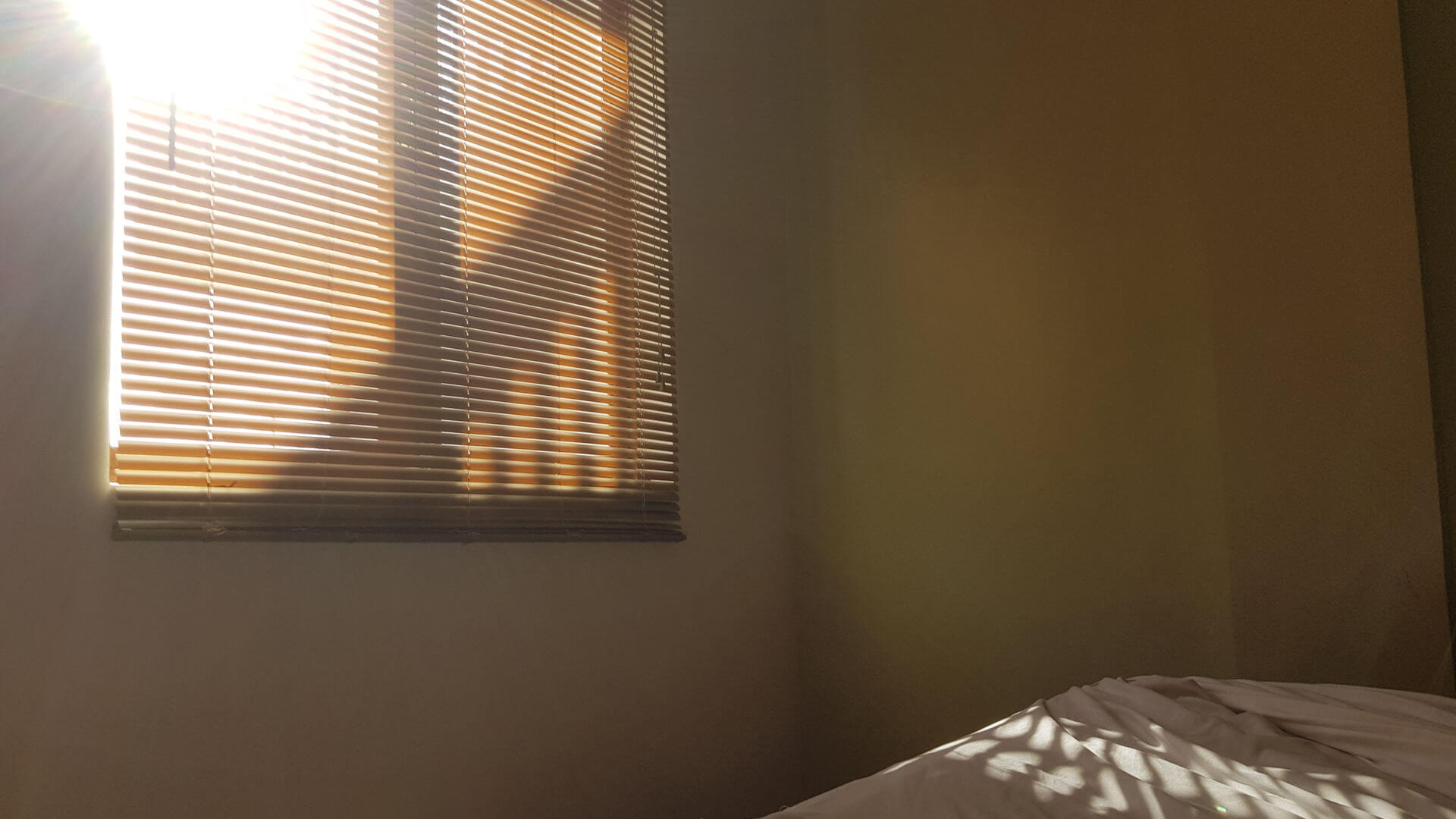 Schlafzimmer verdunkeln - Sonne scheint durch das Rollo ins Schlafzimmer